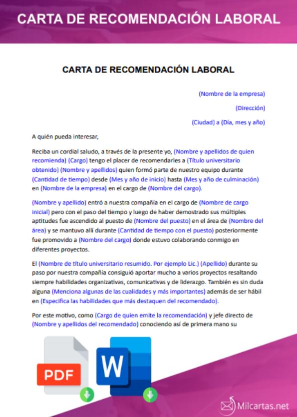 Carta De Recomendación Laboral Para Descargar Word
